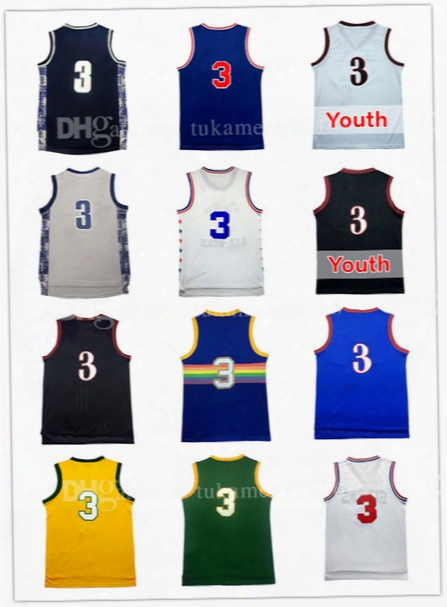 Men's 3 Allen Iverson Basketball Jersey Adult Throwback Mesh Embroidery Iverson University Sportswear Jerseys Youth Kid's Georgetown Retro