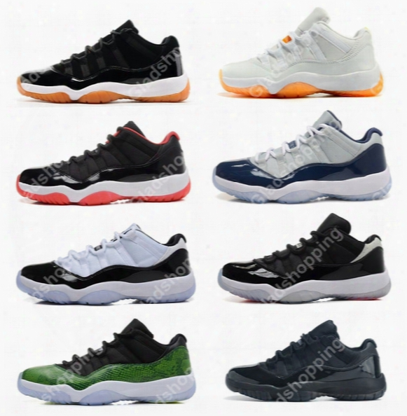 New 2016 Retro 11 Low Basketball Shoes Concord Bred Georgetown Space Jam Citrus Gs Basketball Sneakers Women Men Low Cut Athletics Boots Xi