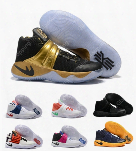 New Kyrie 2 Black Gold Champion Usa Triple Black Crossover Cavs Wolf Grey Kyrie Irving Women Men Basketball Shoes Sneakers