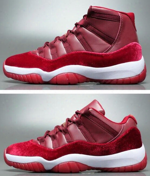 New Retro 11 Velvet Heiress Night Maroon Men Women Basketball Shoes Wine Red 11s Velvet Heiress Sports Sneakers High Quality With Shoes Box