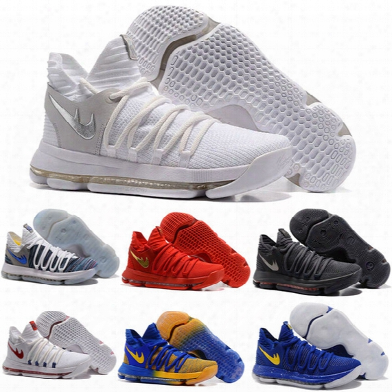 Newest Zoom Kd 10 Anniversary Ppe Oreo Red Men Basketball Shoes Kd 10 X Elite Low Kevin Durant Grade School Sport Sneakers