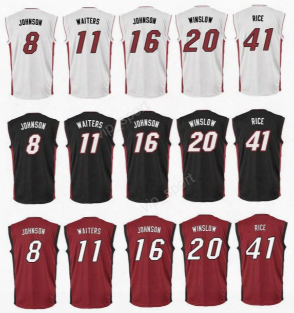 Printed 8 Tyler Johnson Jersey Hot Men 11 Dion Waiters 16 James Johnson Basketball Jerseys 20 Justise Winslow 41 Glen Rice Red Black White
