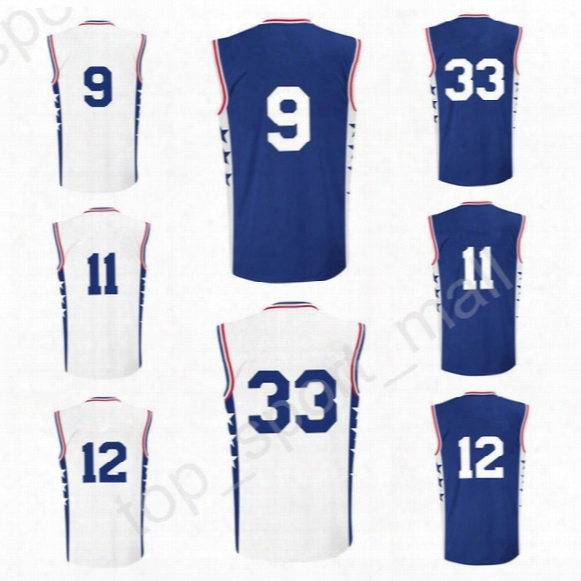 Printed 9 Dario Saric Basketball Jerseys Men 11 Nik Stauskas 12 Gerald Henderson 33 Robert Covington Jersey Blue White Alternate Quality