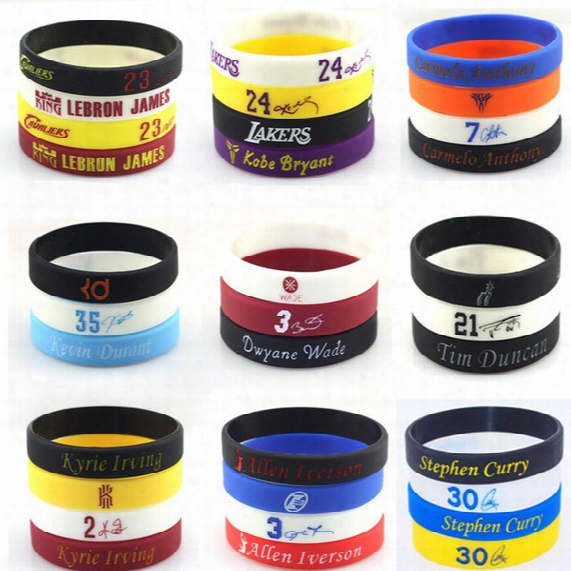 Promotion Wholesale 100pcs/lot Silicone Wristband For Basketball All Star Jordan Bracelets Kobe Lebron Curry Silicone Bands