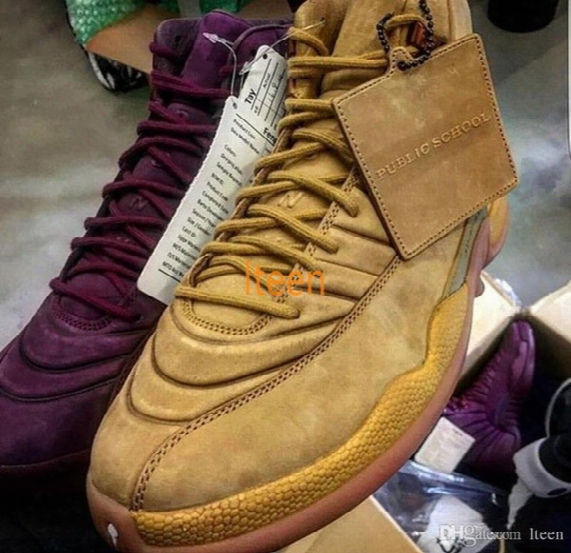 Retro 12 Psny Purple Basketball Shoes 12s (public School Ny) Mens 12s Wheat Green Sports Sneakers Top Quality With Original Box Us 8-13