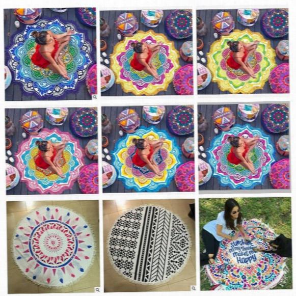 Round Mandala Beach Towel Tassel Tapestry Hippie Boho Tablecloth Bohemian Shawl Sunbath Bikini Wrap Yoga Mat Picnic Blanket Cca5656 10pcs