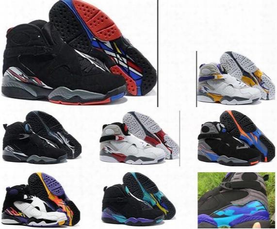 Ship Box 2017 Air Retro 8 Viii Basketball Shoes Men High Quality Sneakers Cheap Retro Viii Aqua Retro 8 Sports Boots Free Shipping