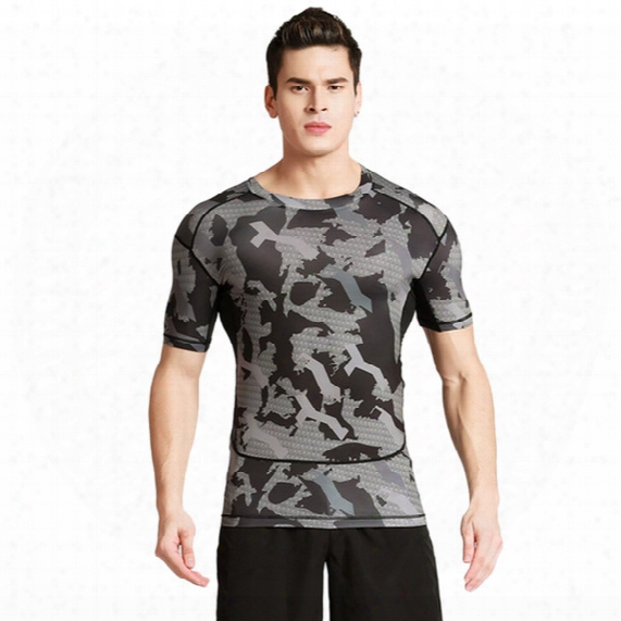 Short - Sleeved Fitness Clothes Men 's Sports Outdoor Camouflage Uniforms Dry Clothes Basketball Running T - Shirts