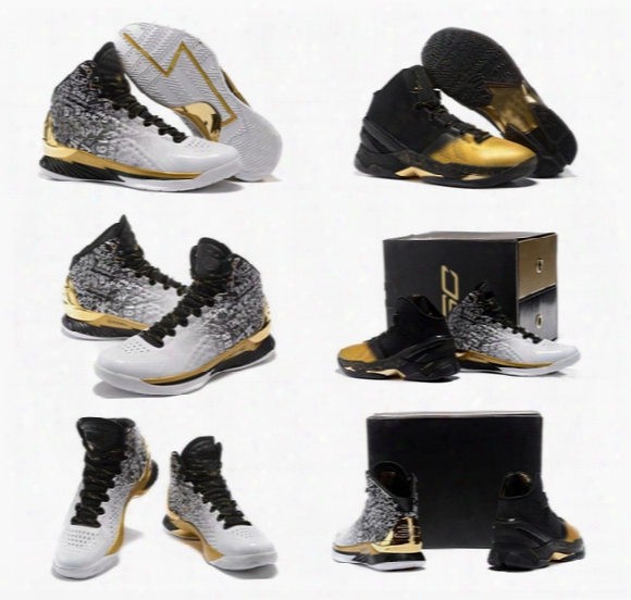 Stephen Curry Back To Back Pack Curry 1 Mvp Basketball Shoes Men Stephen Curry Shoes Black White Gold Currys Size Us7-12 With Box