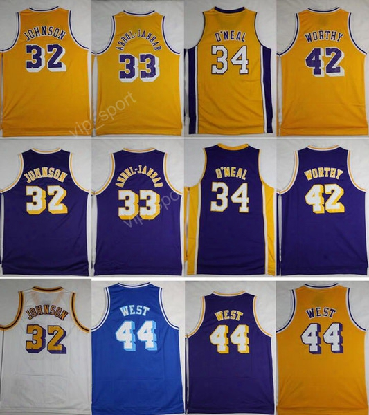 Throwback 32 Magic Johnson Jersey Men 33 Kareem Abdul Jabbar 42 Artest Worthy 44 Jerry West Basketball Jerseys 34 Shaquille Oneal O Neal