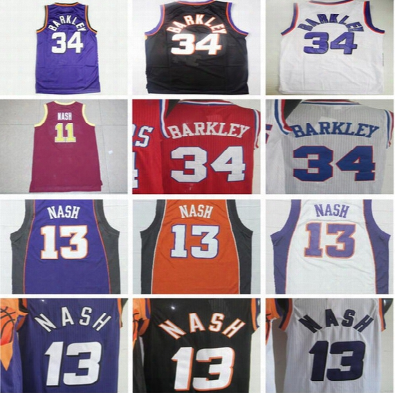 Throwback 34 Charles Barkley Basketball Jerseys Black Yellow Purple White Retro 13 Steve Nash Jersey College 11 Nash Red Shirt
