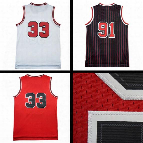 Throwback Mesh Dennis Rodman 91# Jerseys Throwback Mesh Scotte Pippen #33 Jersey Jerseys Sales Embroidery Logos Free Shipping