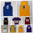 Hot 8 Kobe Bryant Jersey 24 Throwback High School Lower Merion 33 Bryant Retro Basketball Jerseys Yellow Purple White Black with player name