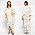 Trumpet/Mermaid High Low Lace Chiffon Evening Dress 2017 Beaded Scoop Neck Tea Length Mother of the Bride Dresses With Long Sleeve Jacket