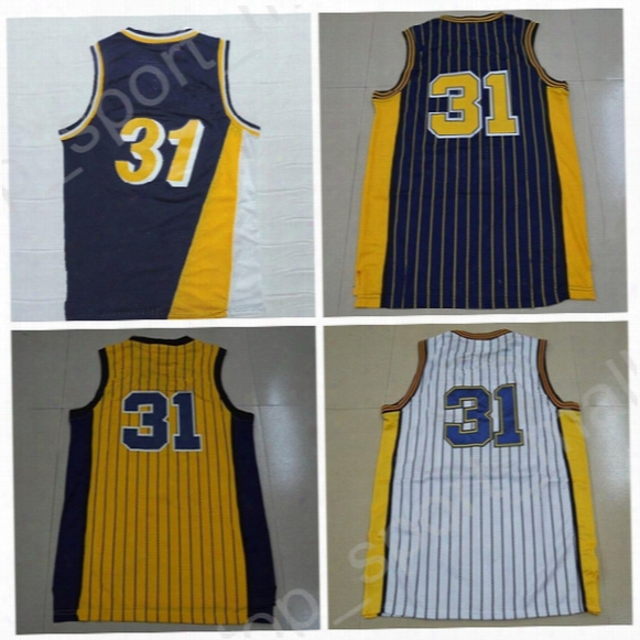 Top Quality 31 Reggie Miller Throwback Jerseys Man Navy Blue Yellow White Basketball Miller Jerseys Sports Vintage Stitched With Player Name