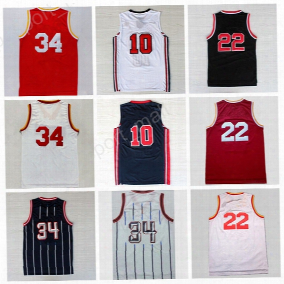 Top Quality 34 Hakeem Olajuwon Jersey Throwback 1992 Usa Dream Team One 10 22 Clyde Drexler Basketball Jerseys Red White With Player Name