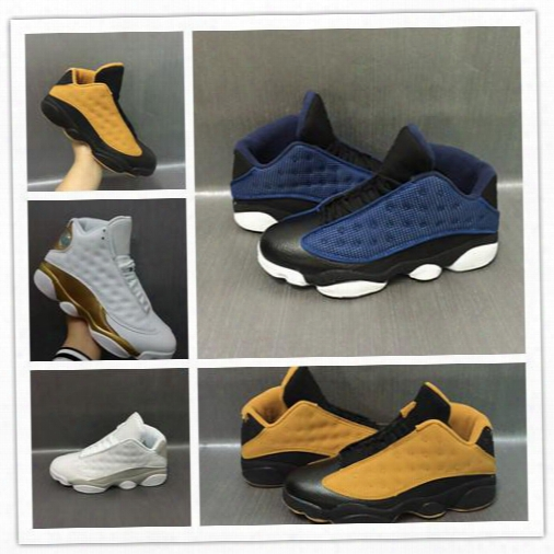 Wholesale 2017 Air Retro 13 Xiii Low Pure Money Navy Blue Chutney Black Gold Wheat Men Basketball Shoes Black Sports Sneakers Size 8-13