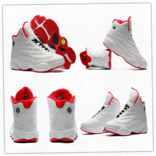 Wholesale Mens Air Retro 13 Basketball Shoes New Color White Red Team Red Hoyas Men Shoes Retro 13s Xiii Sport Sneakers