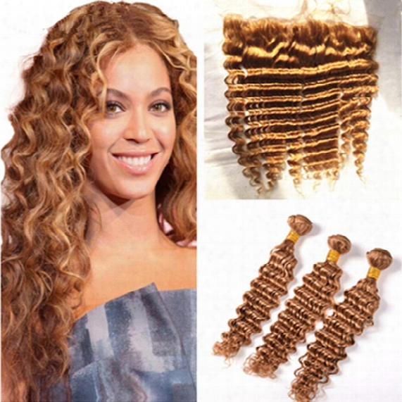 13x4 Ear To Ear Full Lace Frontal Closure With #27 Honey Blonde Brazilian Deep Wave Curly Virgin Human Hair 3 Bunddles 4pcs Lot