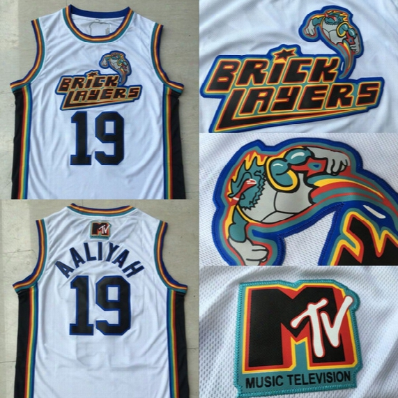 #19 Aaliyah Bricklayers Jersey Men Best Quality 1996 Mtv Rock N Jock Stitched Embroidery Logos White Basketball Jerseys