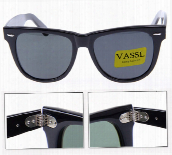 1pcs Vassl High Quality Mens /womens Classic Black Metal Hinge Frame 54mm Sunglasses Glass Lens Sun Glass 901 Style (box+card+cloth)