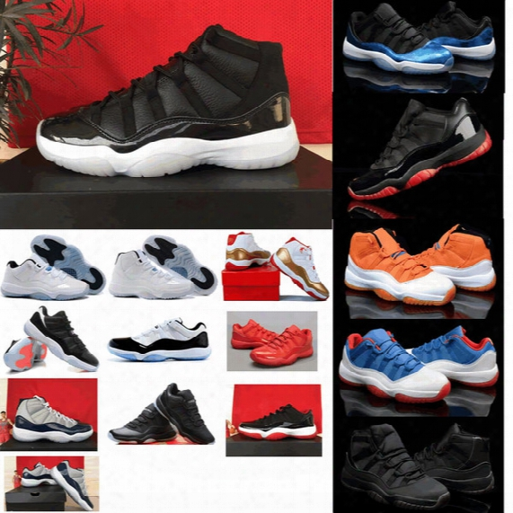 2015 Wholesale Famous Trainers Retro 11 Xi Men's Basketball Shoes Bred Black Red Athletic Sports Basketball Shoes Size 8-13