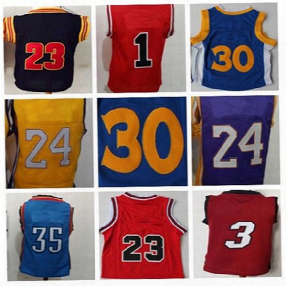 2016 #23 Michael #30 #24 #35 Infant Baby Toddler Children Preschool Kids Rev 30 Basketball Jersey,best Quality Embroidery Logos