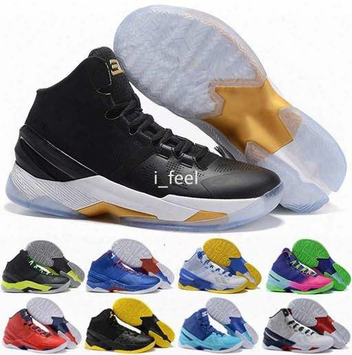 2016 Cheap Curry 2 Mens Basketball Shoes Sneakers Retro Signature Stephen Curry Trainers Curry 2s Basket Ball Shoe Sports Boots Size 7-12