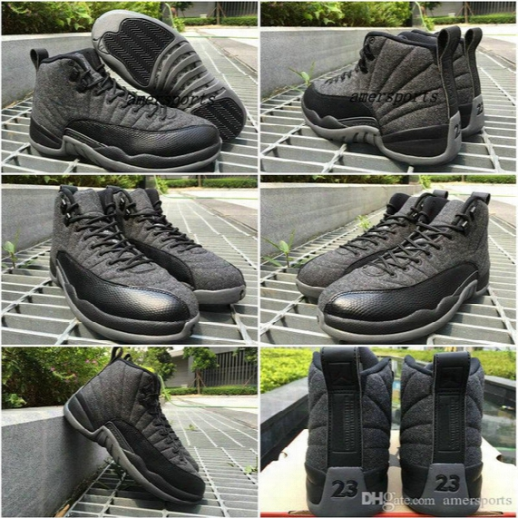 2016 Hiigh Quality Air Retro 12 Wool Men Basketball Shoes Retros 12s Wool Grey Black Basket Ball Men And Women 12s Sports Shoes Sneakers