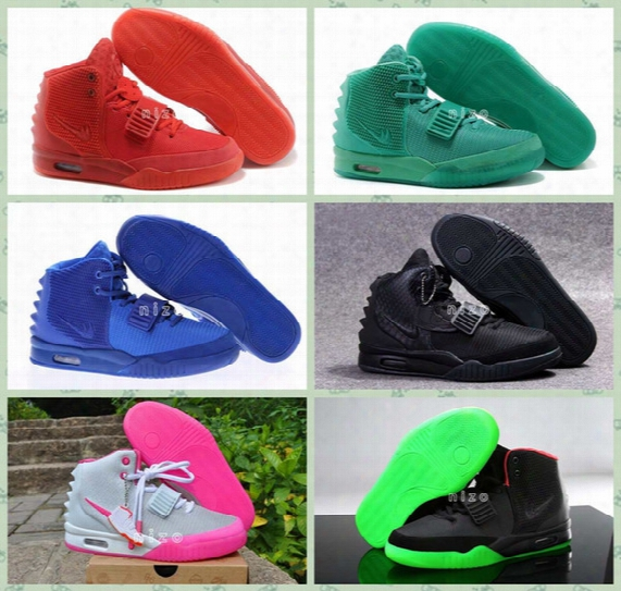 2016 Kanye West Shoes Nrg Red Octobers Shoes Gamma Blue Glow In The Dark Women And Mens Kanye West 2 Basketball Shoes