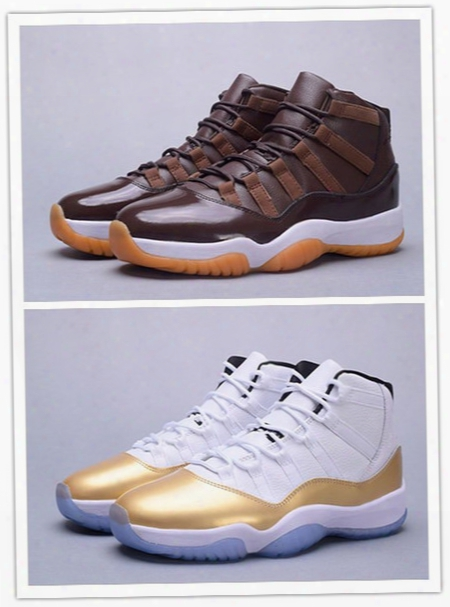 2016 New Air Retro Xi 11 72-10 Chocolates High Closing Ceremony Gold Men Basketball Shoes 11s Sneakers Mens Sports Shoes Wholesale Us 7-13
