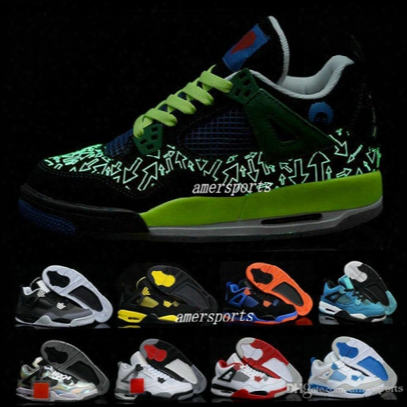 2016 Retro 4 Iv Thunder Og White Cement Men Basketball Shoes Sneakers Authentic Retros 4s Basket Ball Shoes For Mens Cheap Size Us 8 - 13