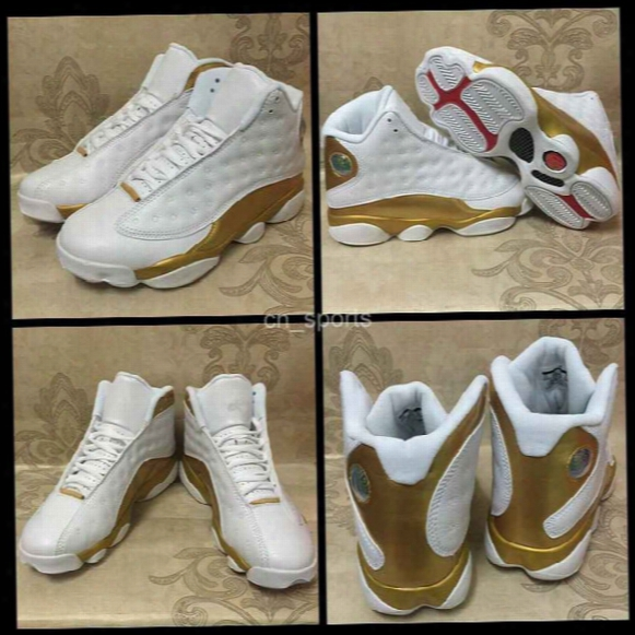 2017 Air Dmp Retro 13 Xiii Men Basketball Shoes Gold White High Cut Retros 13s Sport Shoe Mens Basket Ball Trainers Sneakers 8-13