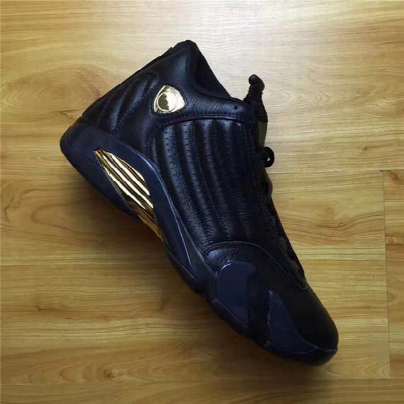 2017 Air Retro 14 Xiv Dmp Pack Defining Monments 14s Basketball Shoes Black Golden Outdoor Sneakers Shoes With Original Box