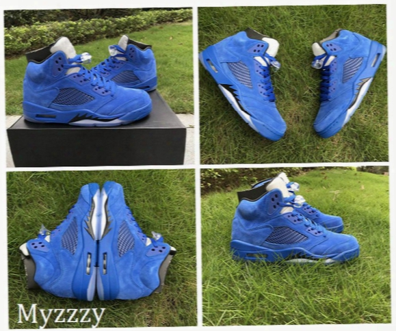 2017 Air Retro 5 V Men Basketball Shoes Blue Raging Bull Suede White Camo Sneakers Retros 5s Mens Basketball Trainers Sport Shoes