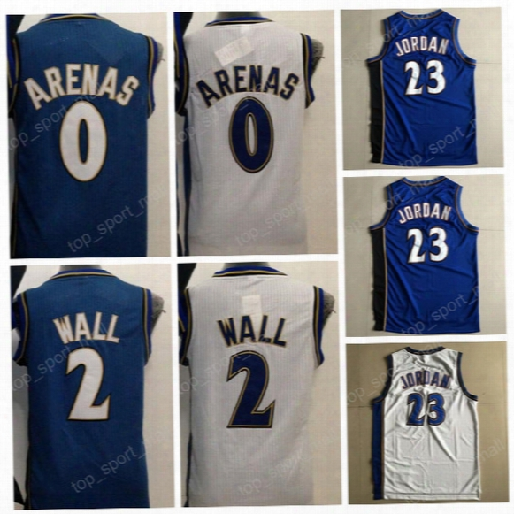 2017 Basketball Throwback Jerseys 0 Gilbert Arenas 2 John Wall Vinatge Uniforms Navy Blue White All Stitching Top Quality On Sale