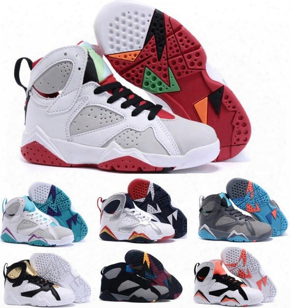 2017 Kids Retro 7 Shoes Children Boys Girls Baby Toddler Air Retro 7s Basketball Shoes China Brands Black Replica Sneakers Size 11c-3y
