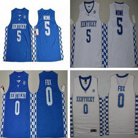 2017 Men #0 De Aaron Fox Jersey University #5 Malik Monk Basketball Jersey Top Sales Stitched Blue Jersey Embroidery Logos Free Shipping