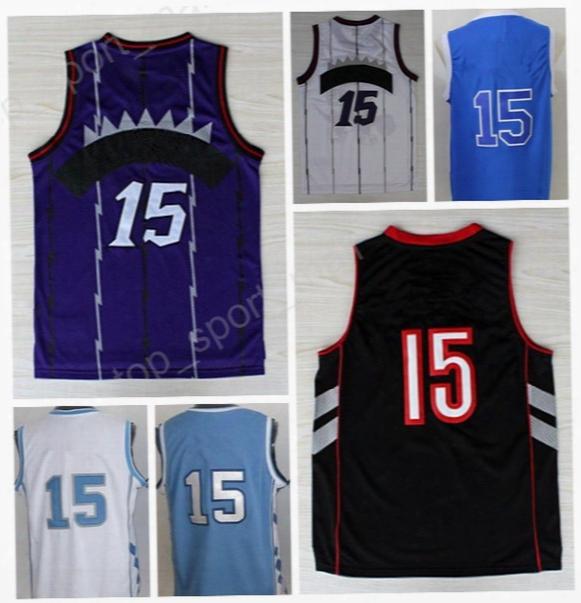 2017 Men 15 Vince Carter Jersey Throwback North Carolina Basketball Vince Carter College Jerseys Blue Black White Purple With Player Name