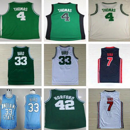 2017 Men's #4 Isaizh Thomas Jersey Shirt 33 Larry Bird Throwback 42 Al Horford Sttiched Cheap Home Green White Basketball Jersey