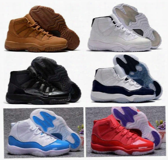 2017 New Air Retro 11 Men Basketball Shoes Midnight Navy Blackdevil Wheat Retros 11s Mens Sneakers Trainers Basket Ball Sports Shoes 8-13