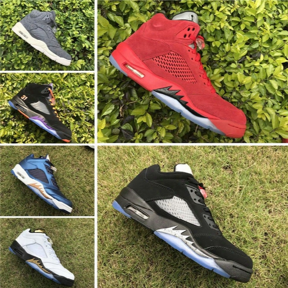 2017 New Air Retro 5 Bronze Blue Olympic White Gold Retro 5s Men Basketball Shoes Sports Sneakers Top Quality Wholesale Size 7-13
