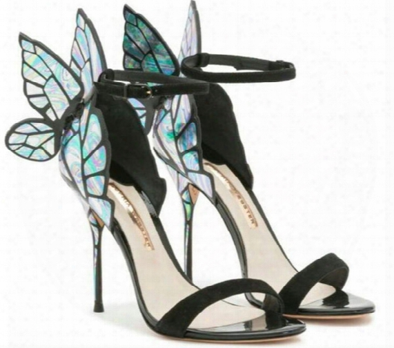 2017 New Arriva Sophia Webst Peep-toe Sandals Butterfly Wings Chiara Purple/teal High Heels Woman Pumps Size 35-42 Dhl Free Shipping