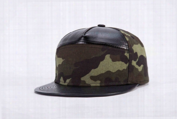 2017 New Arrival Leather Made Cool Army Green Fashion Hats Mens Strapback Basketball Hat Summer Strapback Caps Long Brim Cap Free Shipping