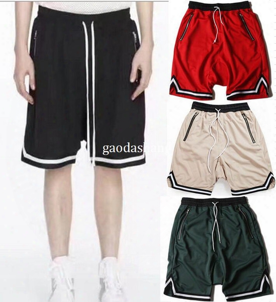 2017 New High Quality Summer Men/women Striped Shorts High Version Zipped Pockets Basketball Mesh Shorts Free Shipping 6 Color