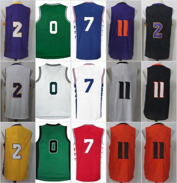 2017 New No.1 Draft Piack 2 Lonzo Ball Men's 7 20 Markelle Fultz 11 Josh Jackson 11 Jayson Tatum 0 Basketball Jerseys Embroidery