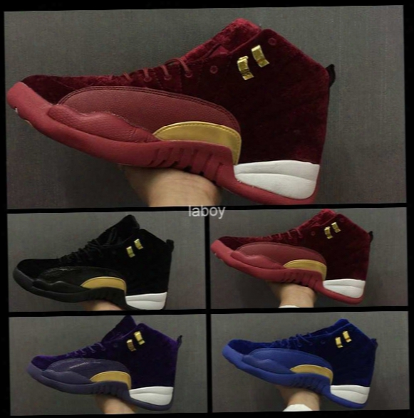 2017 New Retro 12 Men Basketball Shoes Red Black Purple Blue Velvet Sport Shoes Retros 12s Xii Boots Mens Basket Ball Sneakers 36-47