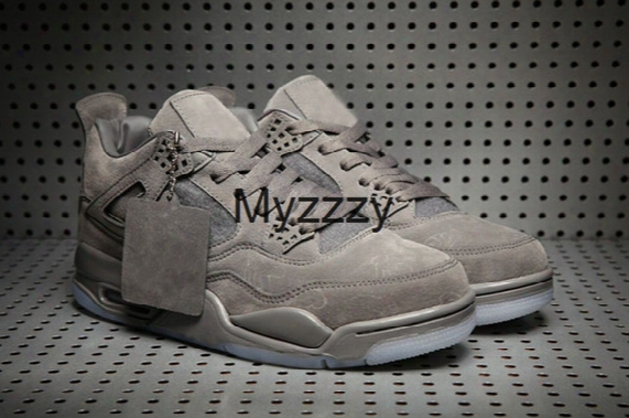2017 Newest Kaws Retro 4 Cool Grey Glow In The Dark Mens Basketball Shoes Limited Edition 4s Grey Suede Sports Shoes With Box