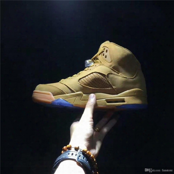 2017 Release Air Retro 5 Wheat Yellow Basketball Shoes Original Quality Sneakers Shoes With Original Box Sneakers Shoes Newest Item