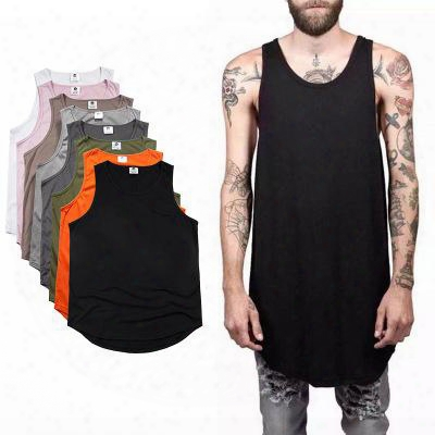 2017 Summer Men's Plain Long Tank Top Sleeveless Curved Hem Cotton T-shirt Summer Sport Basketball Tees Black White Longline Vest Mjg0310